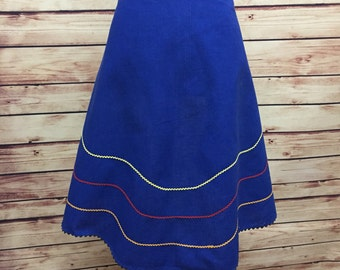 Vintage Blue Cotton Flared Rickrack Hostess Kitchen Apron 60s