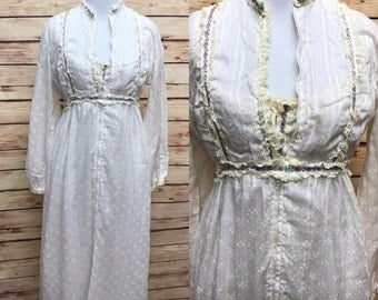 Vintage Lanz of Salzburg Boho 70s Hippie Nightgown Robe S/M