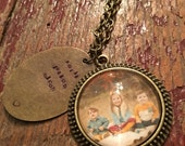 Custom photo necklace with handstamped pendant