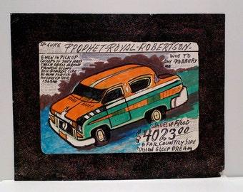 Prophet Royal Robertson Folk Art Drawing Vintage G-Men Mafia Futuristic Car Outsider Artist Self Taught Louisiana Art Brut Plattermatter