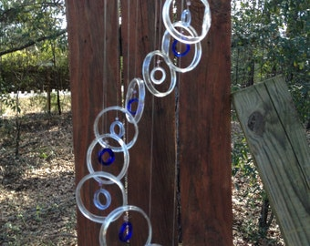 clear blue, lt blue GLASS WINDCHIMES from RECYCLED bottles, eco friendly, garden decor, wind chimes, mobiles, musical, windchimes
