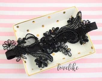 Wedding Garter ,Black Beaded Lace Wedding Garter , Black Lace Garter Set, Bridal Garter Belt, Wedding Garter Belt/ GT-65