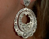 """Exquisite Large Stunning Vintage Navajo Hand Wrought and Stamped Sterling Silver Hoop Chandelier Concho Earrings 2 1/2"""" Long"""