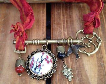 Skeleton key and red sari silk necklace Japanese style Boho Steampunk Bohemian necklace
