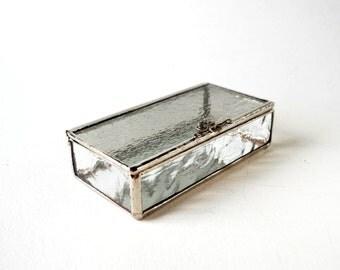 Light Gray Glass Box, Glass Box, Glass Display Box, Glass Jewelry Box, Jewelry Box, Gift For Girlfriend, Bridesmaid Gift