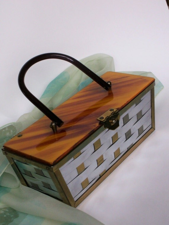 Retro Handbags, Purses, Wallets, Bags Vintage Etra  Metal Basketweave Box Purse Butterscotch Striated Lucite Top and Handle Basket Rockabilly 1950s Handbag Kitsch Accessory $58.00 AT vintagedancer.com