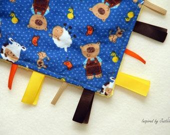 Farmer Bear Tag Blanket - infant toddler taggie toy, minky tag blanket, animal busy blanket #16TB20