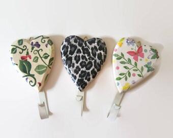 Decoupage Hanging Wall Coat/Bag/Dog Leash Hooks - Sweetpea, Leopard Print, Butterflies