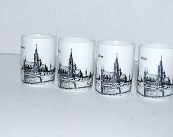 Vintage porcelain shot glasses  DP  porzella   Bien    vintage barware German porcelain