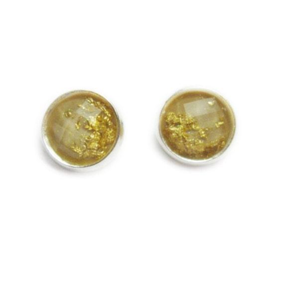Tan Faceted Gold Foil Stud Earrings | Gunmetal Post