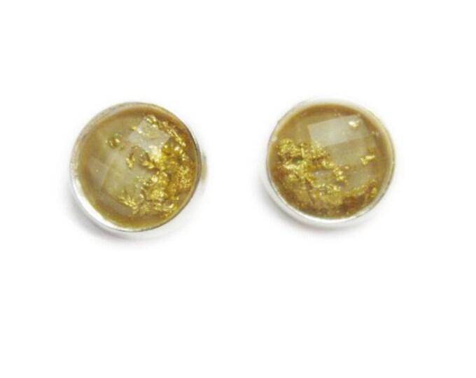 Tan Faceted Gold Foil Stud Earrings   Gunmetal Post