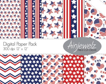 USA flag Stars and Stripes 4th of July Patriotic Digital Paper Pack American Flag Thanksgiving Digital Scrapbook Craft Instant Download