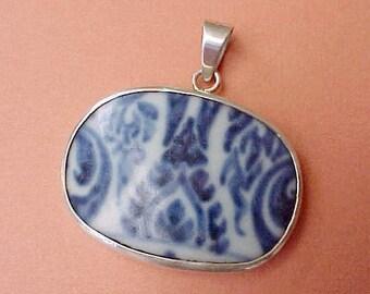 Lovely Broken Persian Pottery Shard Set in Sterling Silver Pendant
