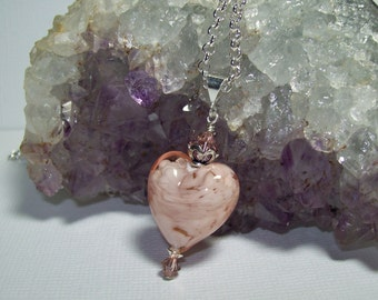 Pink Murano Glass Necklace. Sterling Silver Chain Necklace. Venetian Glass and Swarovski Crystal Pendant. Heart Necklace. Valentine. Love.
