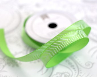 Lime Green Chevron Satin 3/8 -- 4 feet -- Amy Tangerine -- American Crafts