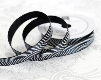 Black Chevron Satin 3/8 -- 4 feet -- Amy Tangerine -- American Crafts