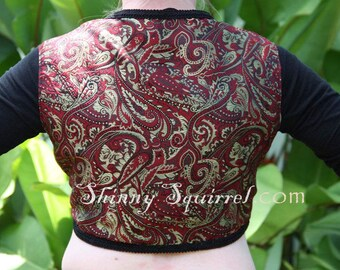 The perfect turkish vest-red, black and gold paisley