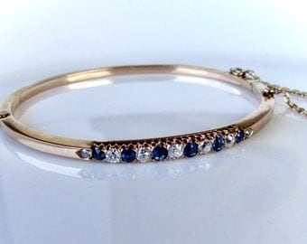 ANTIQUE SAPPHIRE BANGLE  diamond and sapphire vintage bangle