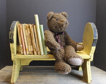 Vintage Rustic Wooden Step Stool With Ponies // Step Stool or Book case