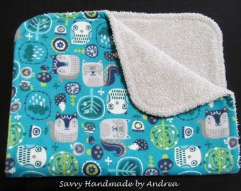 Burp Cloth with Squirrels and Trees, Baby Burp Cloth, Flannel and Terry Cloth Burp Cloth