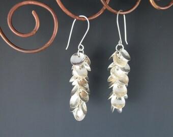 Sterling Silver Earrings. Dangle Earrings, One of a Kind Earrings, Disk Earrings, Handmade Earrings, Handcrafted Earrings