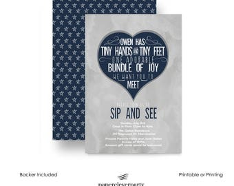 Inked Sip and See Invitation for Boys -- Navy and Grey -- Mod -- Meet Baby -- Party Announcement -- Printable Template or Printing Service
