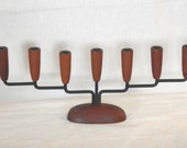 Danish Teak Wood & Wrought Iron Metal Candle Taper Holders Candelabra Candlesticks Mid Century Modern Denmark