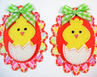 Two Easter Egg Scrapbook Embellishments, Easter Card Topper, 3d, paper piecing, Banner, Gift Tag