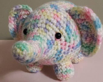 Elephant- Crochet Amigurumi Stuffed Animal Plush- Multi