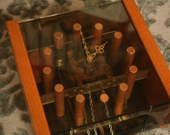 Rare 1950s Herman Miller, Howard Miller,  Pendulum Clock, Mid Century Modern, George Nelson, Brass, Oak, Lucite, Chiming Clock, Home Decor