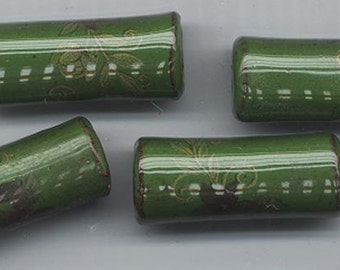 Six vintage ceramic tubular beads with large holes - dark green with hand-painted flowers - 32 x 12 mm