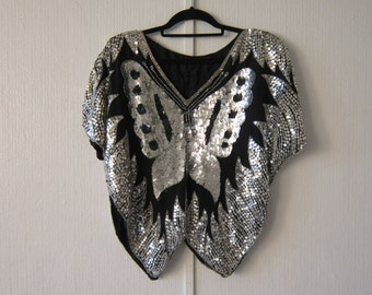 Silver and Black Sequin Butterfly 80's Top