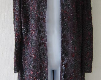 Frank Usher Beaded and Sequin Maroon Evening Long Jacket