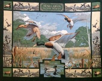 Mallard Duck hunting panel, ducks in the marsh, Wildlife Fabric, Duck quilt panel, Coordinate duck fabric approx 1 yard