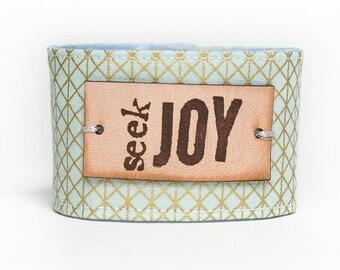 Leather plated Bracelet, Blessing Band™, Secret Message Bracelet, Seek Joy Cuff, Inspirational Jewelry, Quote Bracelet, Inspiration Cuff