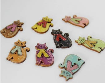 """30 PC Painted wood buttons 30mm - Wooden Buttons ,buttons, natural wood buttons """"cat"""" A094"""
