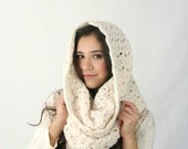 Spring SALE Chunky Cowl Scarf THE ROCHDALE Textured Crochet Hood Scarf Fisherman