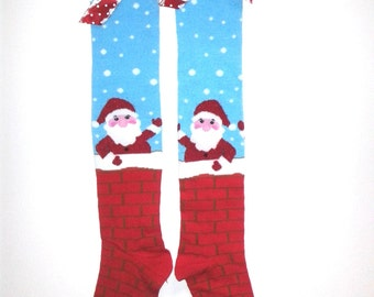 Santa Big Girl thru Ladies Knee High Socks, Christmas,Jingle All The Way,Jingle Bells,Festive Socks,Dance Socks, Marathon,jogging,gynnastics