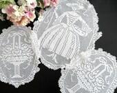 Large Filet Crochet Doilies, Figural Doilies, 3 Piece Set, Handmade Doilies, Crinoline Lady and Flower Basket Design, Vintage Linens
