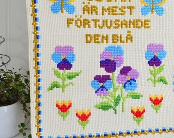 "Colorful wallhanging home decor, vintage Swedish embroidered decoration, pansies and tulips , 15 "" x 20 """