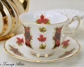 Royal Adderley Teacup and Saucer,  Maple Leaf Tartan Tea Cup And Saucer Set, Wedding Gift, Candian Tea Cup And Saucer, ca.  1964