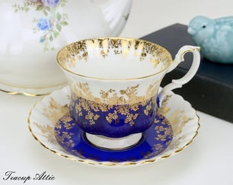 Royal Albert Cobalt Blue Regal Series Teacup and Saucer Set, Bone China Teacup and Saucer, ca. 1970