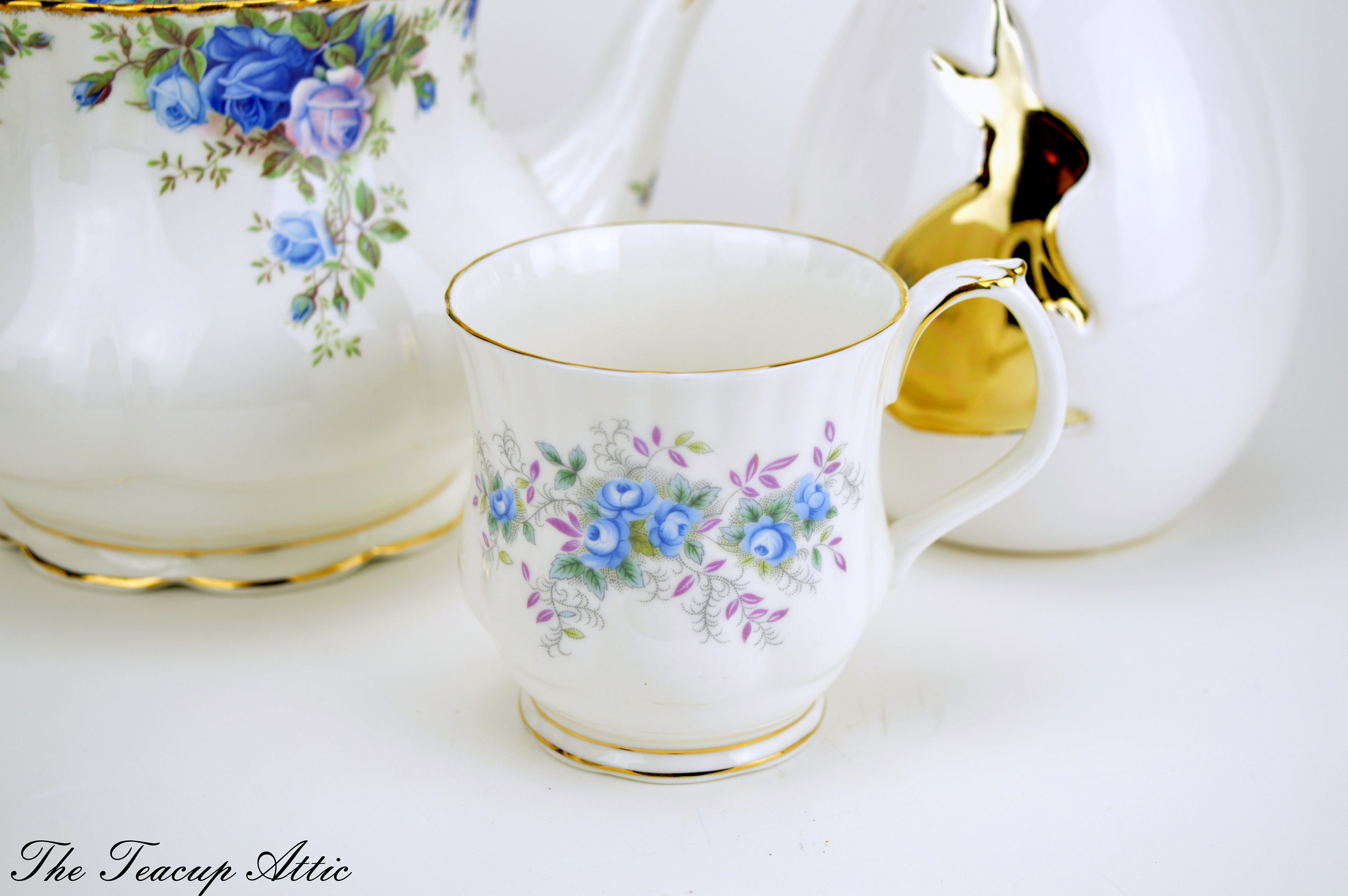Royal Albert Blue Blossom Mug, Vintage English Bone China Mug, ca. 1989-1998