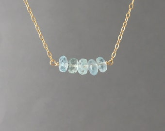 FIVE Blue Aquamarine Stone Beaded Necklace Gold, Rose Gold, or Silver