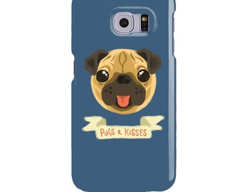 Pugs & Kisses Phone Case for Samsung Galaxy S8, S8 PLUS, S6, S7, S6 Edge, S7 Edge - Cute panting pug dog. Grey, Red, Blue, Green and Yellow