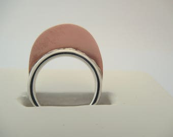 Contemporany Ring. Sterling silver ring. Mixed metal jewelry. Silver Copper Ring. Mountain Ring. Copper Jewelry.