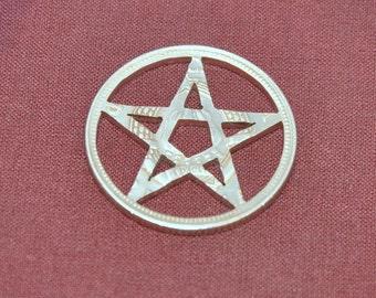 Pentagram pendant. Coin cut charm. All handmade Yugoslavia 10 dinars coin