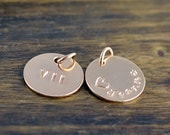 Rose Gold Charm, Add On, Ala Carte, Engraved Disc, Hand Stamped Name Disc, Personalized Charms, Monogrammed Disc, Add on Disc ,Charm