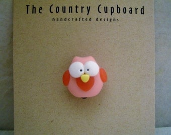 Owl - Pin - Brooch - Polymer Clay - Valentine's Day
