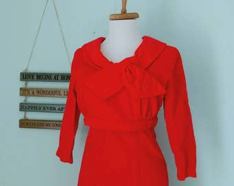 1960's Red-Orange Velvet Wiggle Dress With Decorative Collar/ Women's Small Flame Orange Mad Men Style Dress